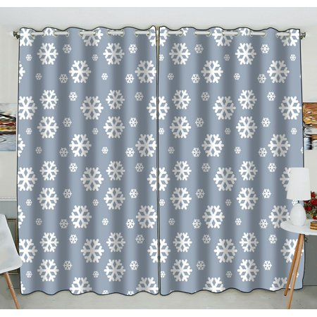 Zkgk Snowflake Window Curtain Drapery Panels Treatment For Living Room Bedroom Kids Rooms 52x84 Inches Two Panel
