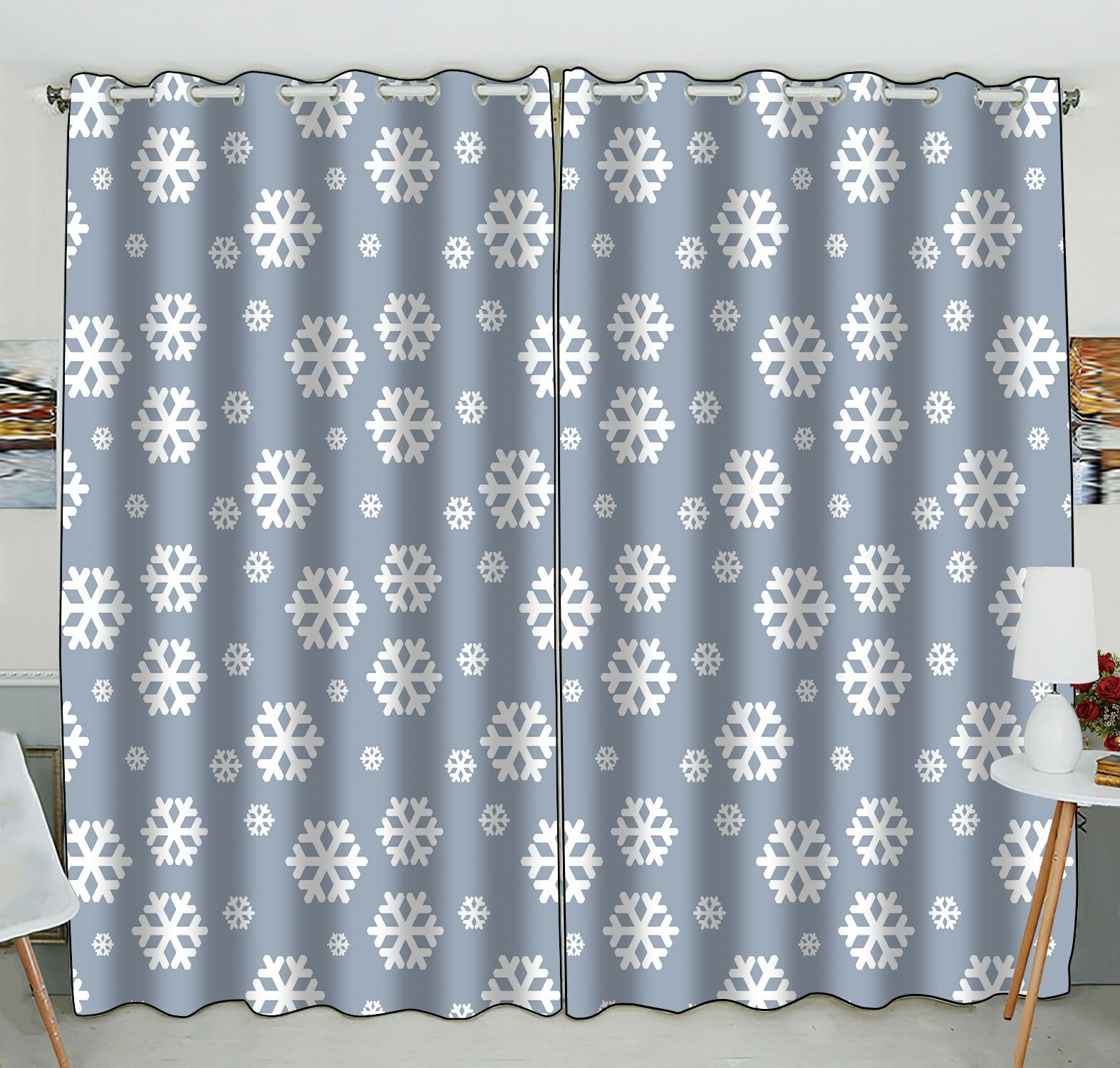 ZKGK Snowflake Window Curtain Drapery/Panels/Treatment For Living Room Bedroom Kids Rooms 52x84 inches Two Panel