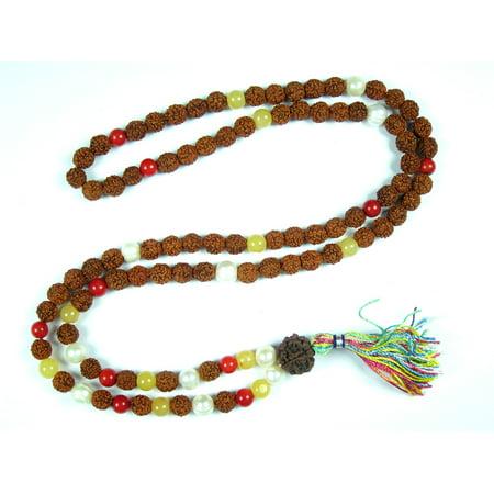 Mogul Yoga Gift- Coral, Pearl, Yellow Jade Meditation Prayer Hand Mala Crystal Rudraksha (Rudraksha Mala In Gold Price In India)