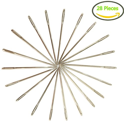 5.2 cm Large-eye Stitching Needles Hand Sewing Needles for Leather Projects, 28 Pack