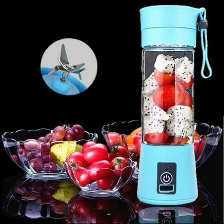 Mini Portable Blender USB Rechargeable Fruit Mixer Juicer 380mL Bottle (Blue) - image 1 de 1