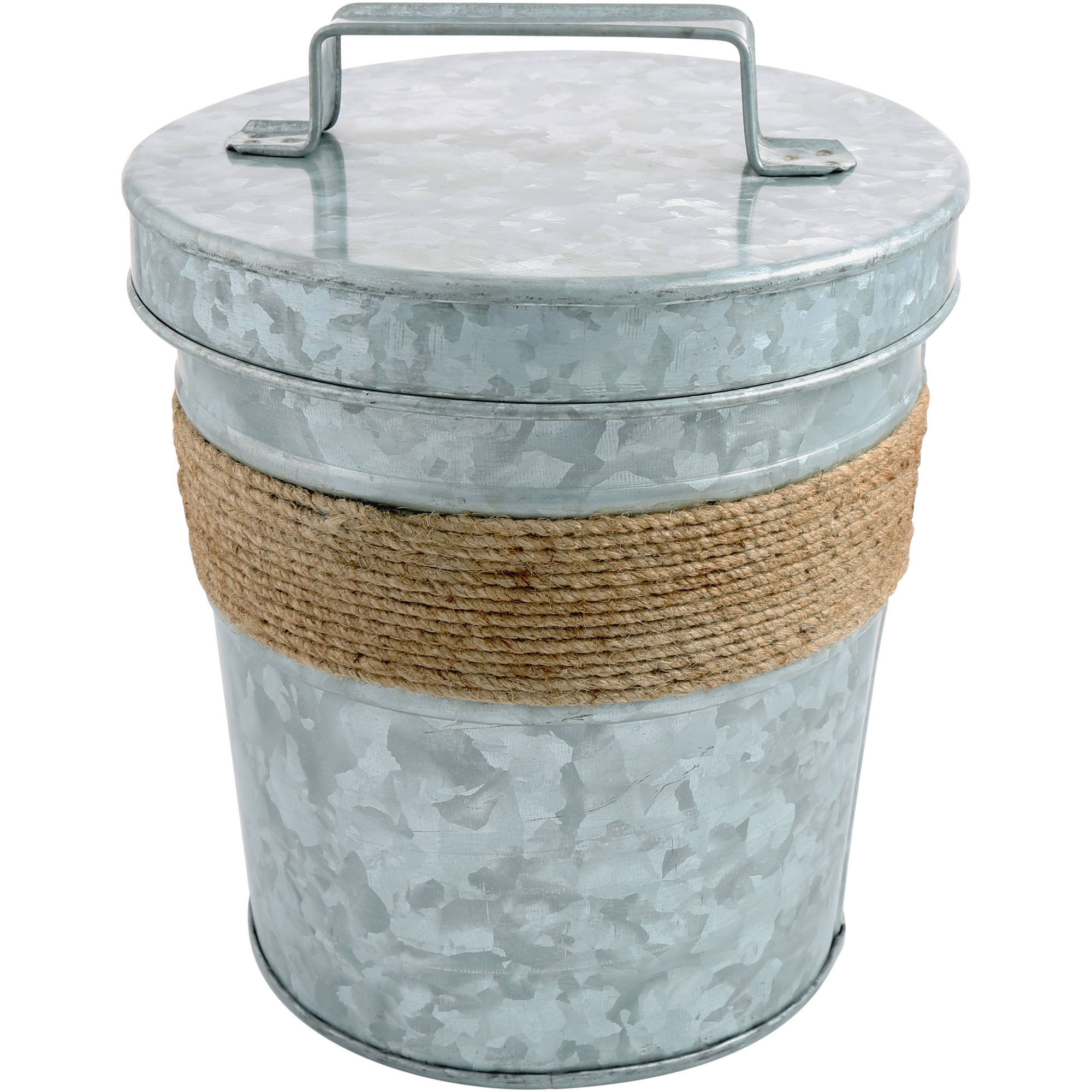 Cambridge Shiloh Galvanized and Rope 3 qt S W Ice Bucket by Cambridge