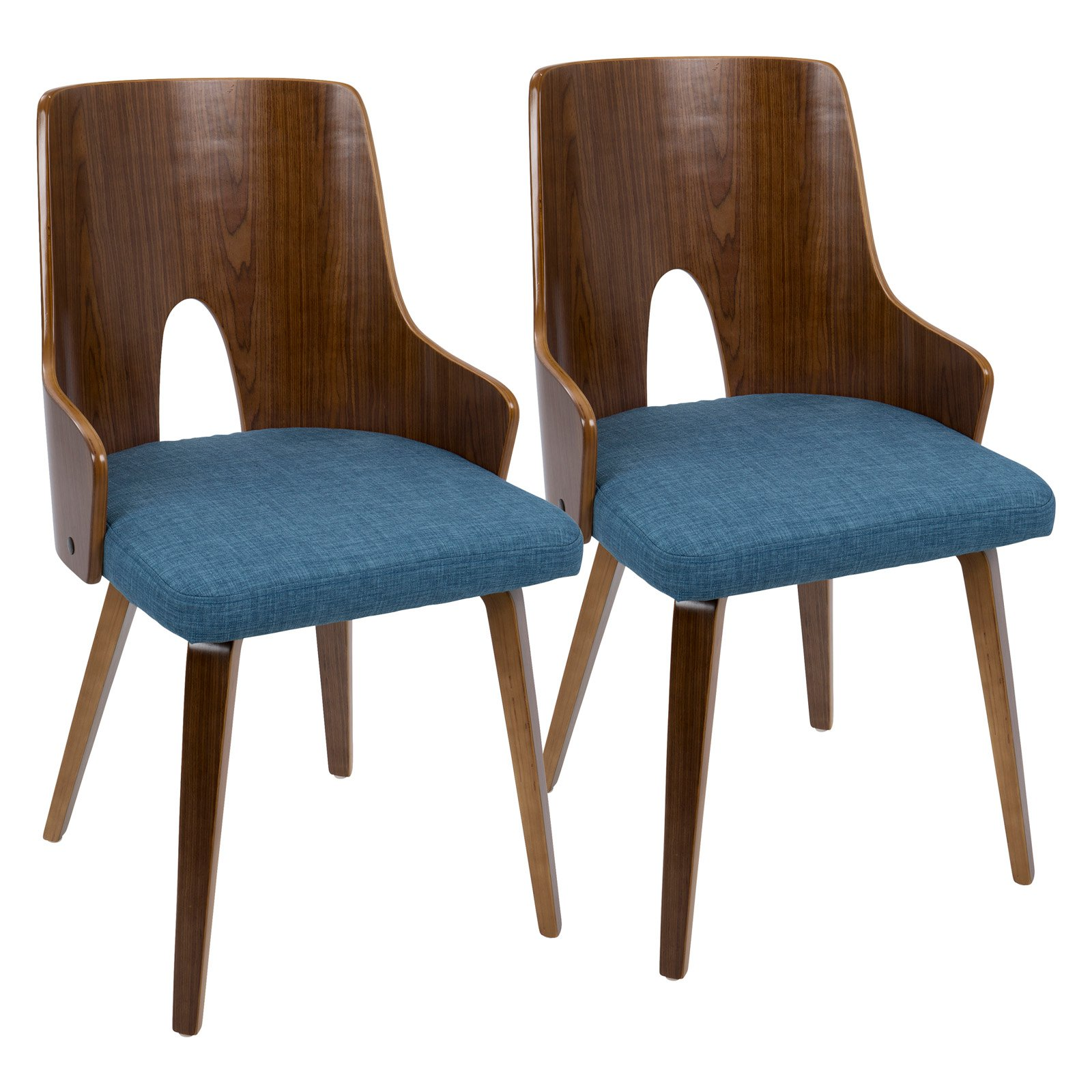 Ariana Mid-Century Modern Dining Accent Chair in Walnut and Beige Fabric by Lumisource Set of 2 by LumiSource