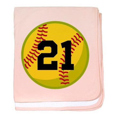Cafepress Personalized Softball Sports Baby Blanket