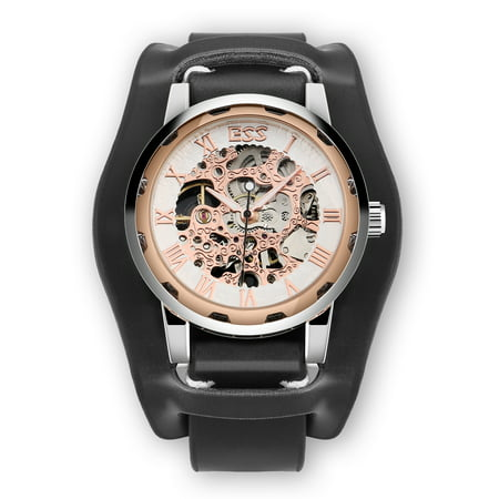 ESS Men's Skeleton Mechanical Watch Rose Gold Case Wrist Classic Black Leather