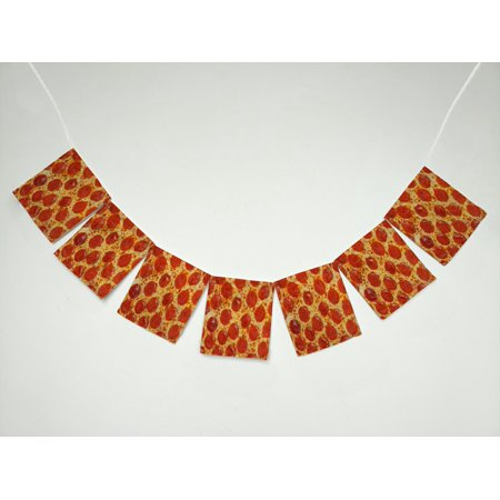 GCKG Pizza Italian Classic Pepperoni Pizza Banner Bunting Garland Flag Sign for Home Family Party Decoration