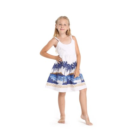 Girl Hawaiian Classic Empire Dress with Elastic Strap in Diamond Head Palms Beach in White Size 4 Back Elastic Empire Dress
