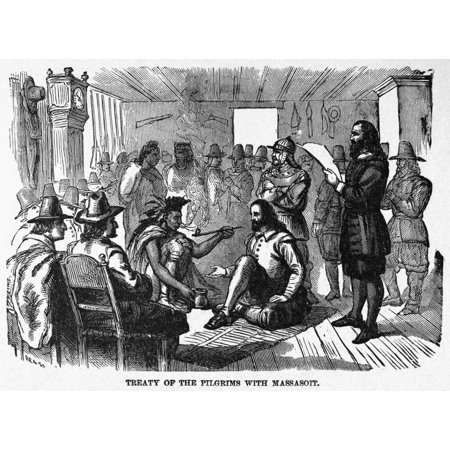 Pilgrims Treaty 1621 Nthe Pilgrims Treaty With Wampanoag Chief Massasoit In William Bradfords House At Plymouth Colony March 1621 Wood Engraving American Late 19Th Century Rolled Canvas Art     18 X 2