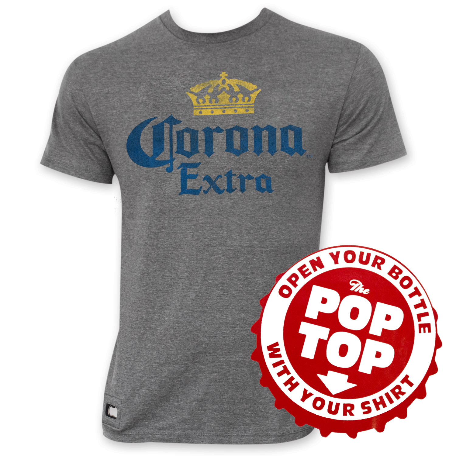 Corona Extra Faded Grey Crown Logo Pop Top Bottle Opener Tee Shirt