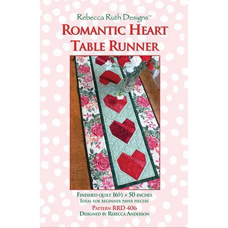 Romantic Heart Runner Pattern, Detailed four-color piecing instructions included By Rebecca Ruth Designs Ship from US