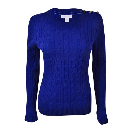 Charter Club Women's Buttoned Detail Cable Knit Sweater