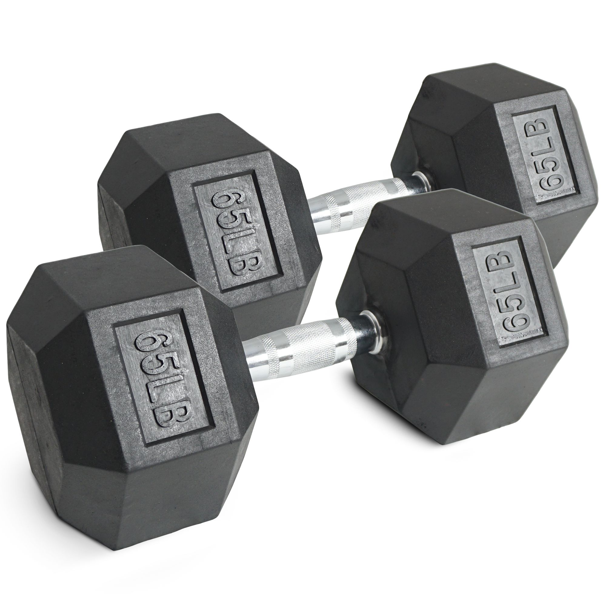 Pair 65 lb Black Rubber Coated Hex Dumbbells Weight Training Set 130 lb Fitness by Titan Fitness