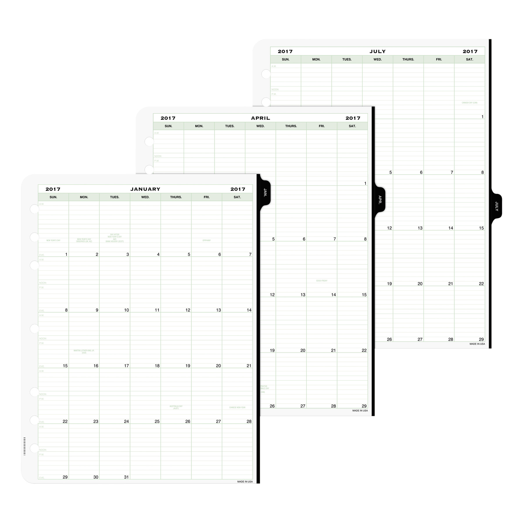 Day-Timer Original Two-Page-Per-Day Refill, 8 1/2 x 11, White/Green, 2019 -DTM94010