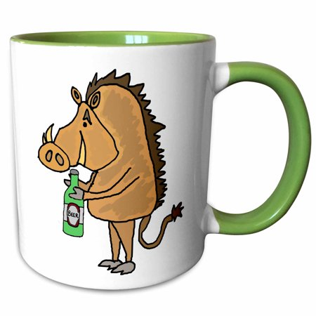 3dRose Funny Warthog Drinking Margarita Cartoon - Two Tone Green Mug, 11-ounce