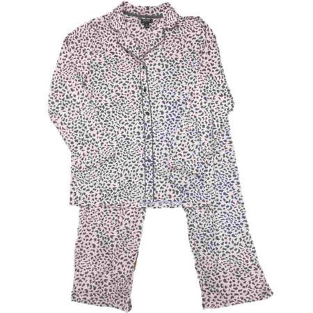 Pink Cheetah Print (Womens Pink & Gray Leopard Animal Pajamas Cheetah Print Sleep)