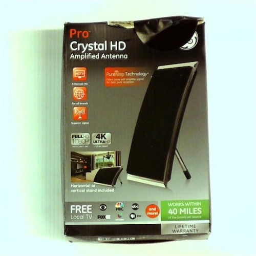 Refurbished General Electric 34134 Flat Panel Pro Crystal HD Amplified Indoor Antenna, Black