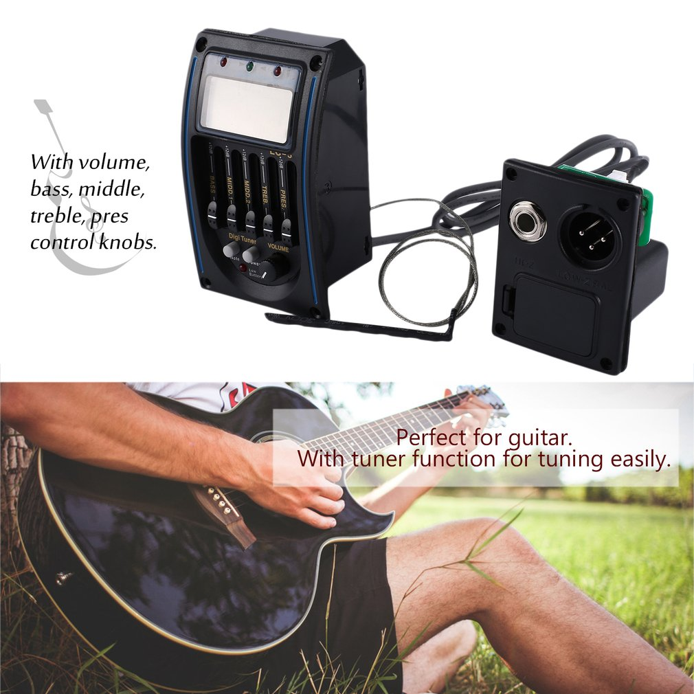 5 Bands Acoustic Guitar Pickup Equalizer LCD Screen EQ Preamp Amplifier Tuner by