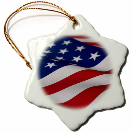 3dRose USA Flag American America Banner Stars Stripes patriot patriotism patriotic united states us, Snowflake Ornament, Porcelain, 3-inch