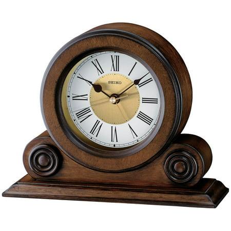 Seiko Brown Alder Desktop Clock
