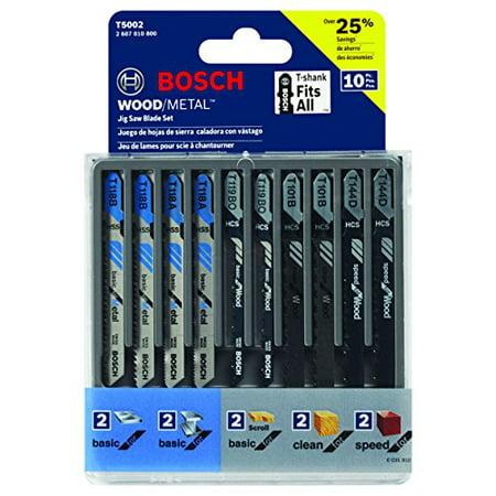 Bosch 10-Piece Assorted T-Shank Jig Saw Blade Set T5002 Assorted T-shank Jigsaw Blade