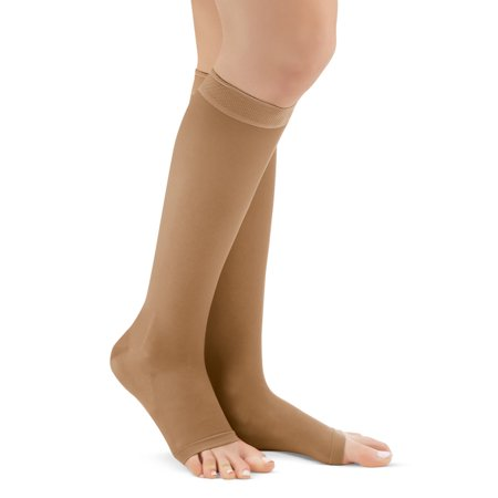 Knee High Compression Stockings, Firm (20-30 mmHG), Open Toe - Made in USA, Xl, Beige  - Made in the USA ()