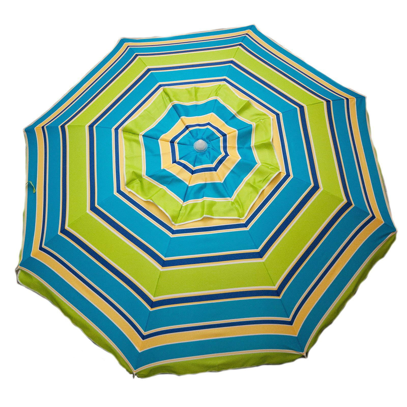 DestinationGear 7' Beach Umbrella Lime Stripe With Travel Bag by Parasol