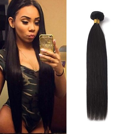 Woman Girl Real Soft Sliky Straight Real Hair 7a Unprocessed Virgin Brazilian Hair Bundles Human Hair Straight Extensions Natural Black 1 Bundle