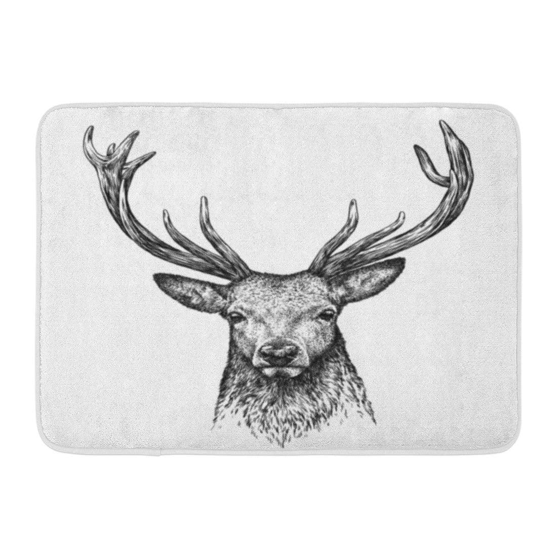 GODPOK Sketch Brown Stag Black And White Engrave Deer Head