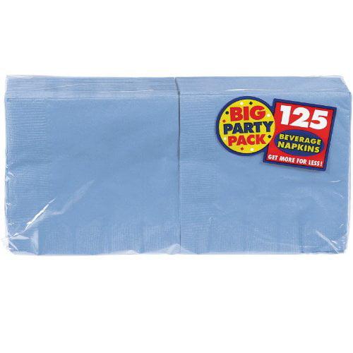 Amscan Big Party Pack 125 Count Beverage Napkins, Pastel Blue