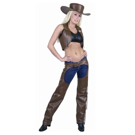 Womens  Range Rider Cowgirl Brown Faux Leather Chaps and Vest Set - Girls Cowgirl Vest