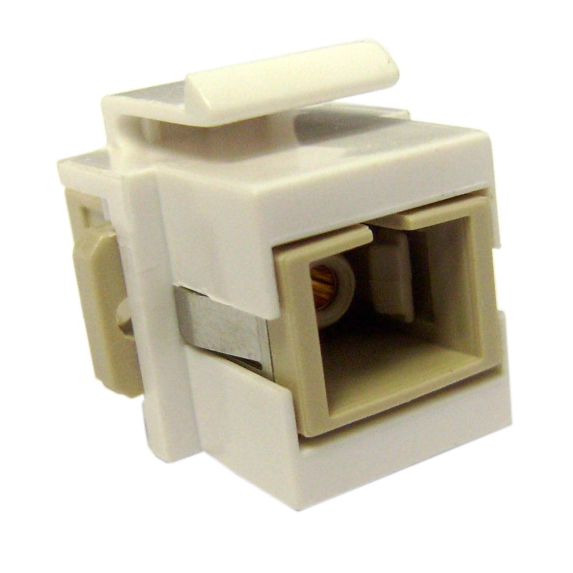ACCL Keystone SC Fiber Optic Network Coupler, White, 5pk