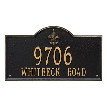 Personalized Whitehall Products Bayou Vista Estate 2 Line Address Plaque In Black Gold