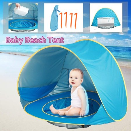 Image of HERCHR Kids Tent, Portable Infant UV Protection Baby Beach Tent Waterproof Shade Pool Sun Shelter, Baby Beach Tent, Outdoor Tent