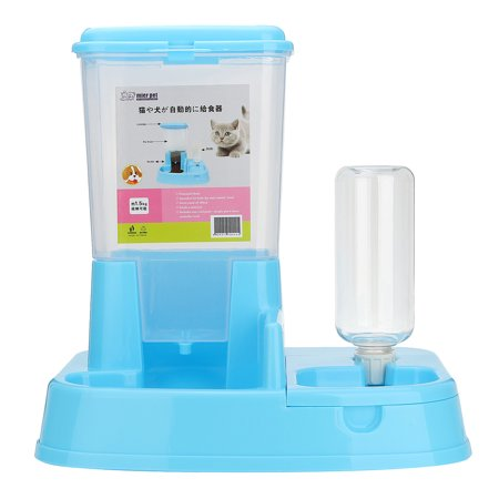 - 3.3 LB 2 in 1 Pet Cat Dog Automatic Food + Water Drinker Dispenser Gravity Pet Feeder Dish Bowl Bottle Anti-Spill Non Slip