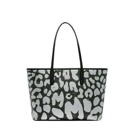 Zip Shopper Bag (BRAND NEW WOMENS MCM ANYA TOP ZIP SHOPPER LEOPARD MONOGRAM LEATHER TOTE HAND BAG (Silver))