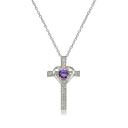 Sterling Silver Amethyst & White Topaz Heart in Cross -