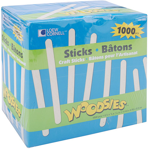 "Woodsies Craft Sticks, 4.5"", 1000-Pack"