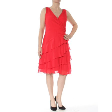 RALPH LAUREN Womens Red Tiered Ruffled V Neck Knee Length Party Dress  Size: 4](Ralph Lauren Halloween Party)