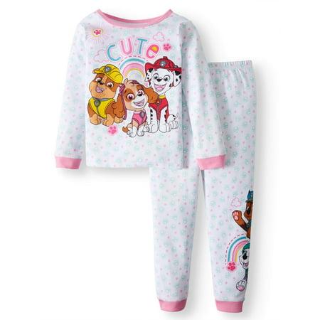 Paw Patrol Cotton Tight Fit Pajamas, 2-piece Set (Toddler (White Broadcloth Pajamas)