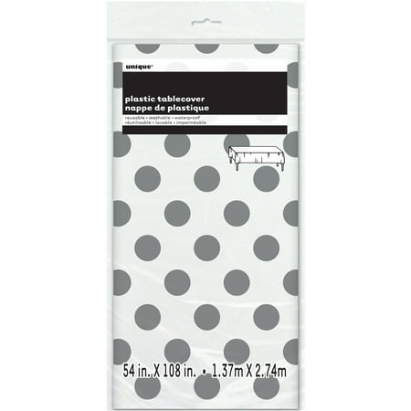 (3 Pack) Plastic Silver Polka Dot Table Cover, 108