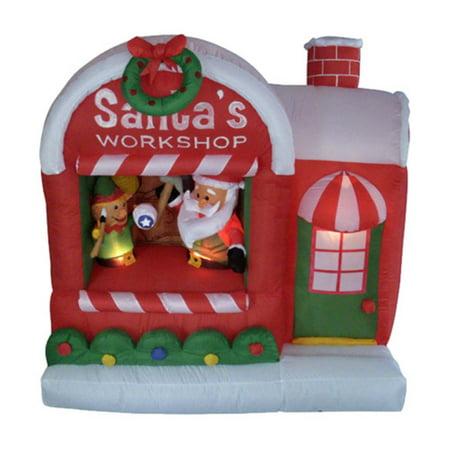 Northlight 5 ft. Inflatable Santas Workshop Christmas Yard Art