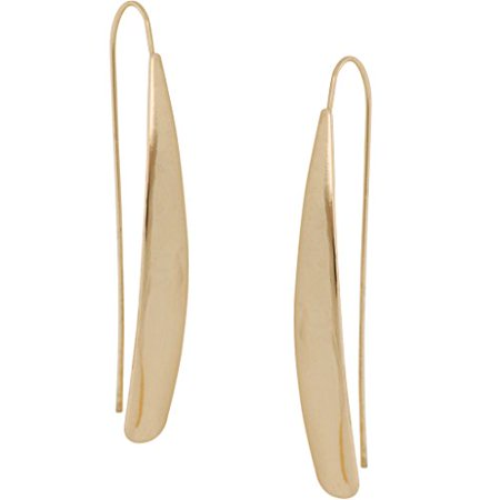 Curved Flat Bar Dangles - Metallic Long Linear Tear-Drop Shiny Polished Threader Earrings, High Shine Gold-Tone, by Humble Chic -