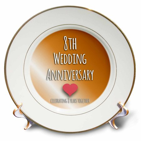 3dRose 8th Wedding Anniversary gift - Bronze celebrating 8 years together eighth anniversaries eight yrs, Porcelain Plate, -
