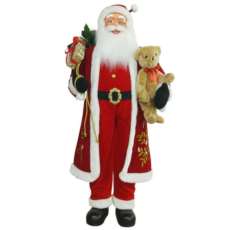 5' Life-Size Standing Santa Claus Christmas Figure with Teddy Bear and Gift Bag](Large Santa Figure)