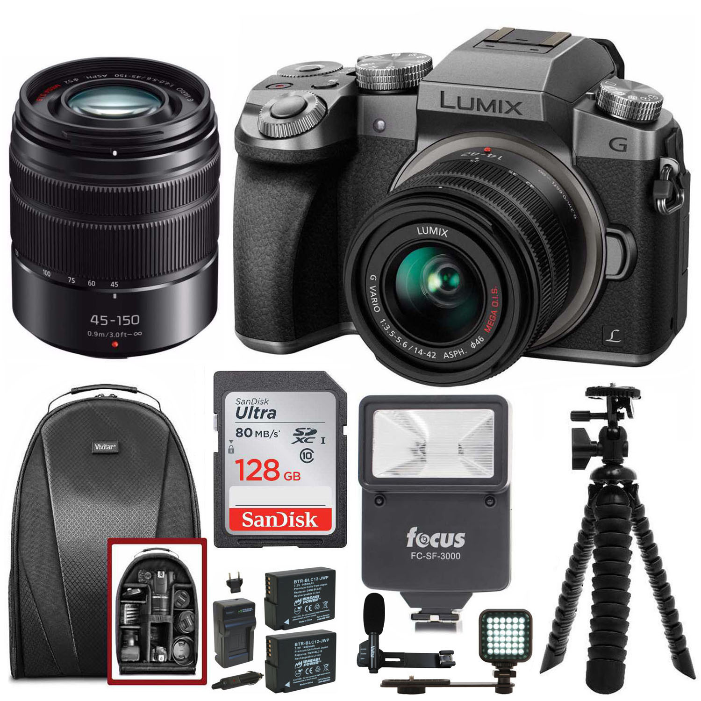 Panasonic Lumix DMC-G7KS 2 Lens Kit (14-42mm, 45-150mm) w/ 128GB Bundle
