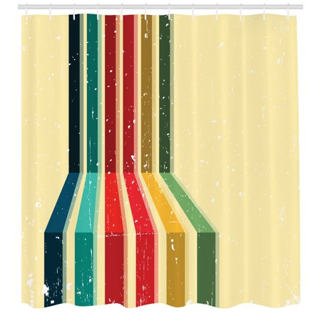 Vintage Rainbow Shower Curtain, Vertical Colored Stripes with Grunge ...