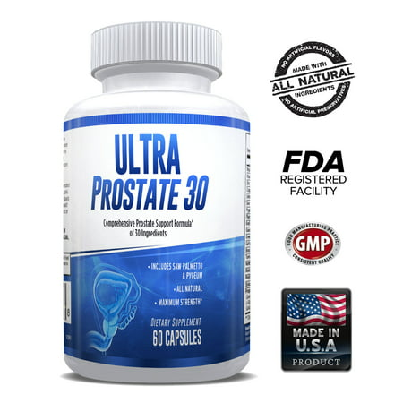 Ultra Prostate 30 – Comprehensive All Natural Prostate Support Formula for Men – Saw Palmetto, Pygeum, Plant Sterol Complex & 27 More – 1 Month