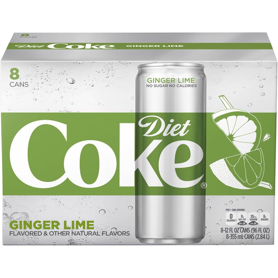 (3 Pack) Diet Coke Ginger Lime Soda Slim Can, 12 Fl Oz, 8 Count