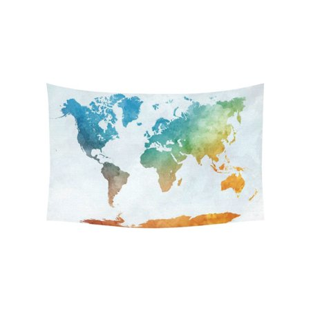 Dora Decorations (GCKG Colorful Watercolor World Map Tapestry Wall Hanging Abstract Art Splatter Painting Wall Decor Art for Living Room Bedroom Dorm Cotton Linen Decoration 60 x 40)
