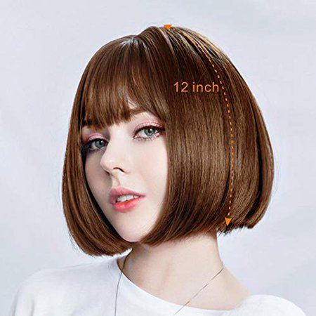Dasani Short Bob Hair Wigs For Women Brown Wigs With Bangs Straight Synthetic Wig Natural As Real Hair 12 02brown Walmart Canada